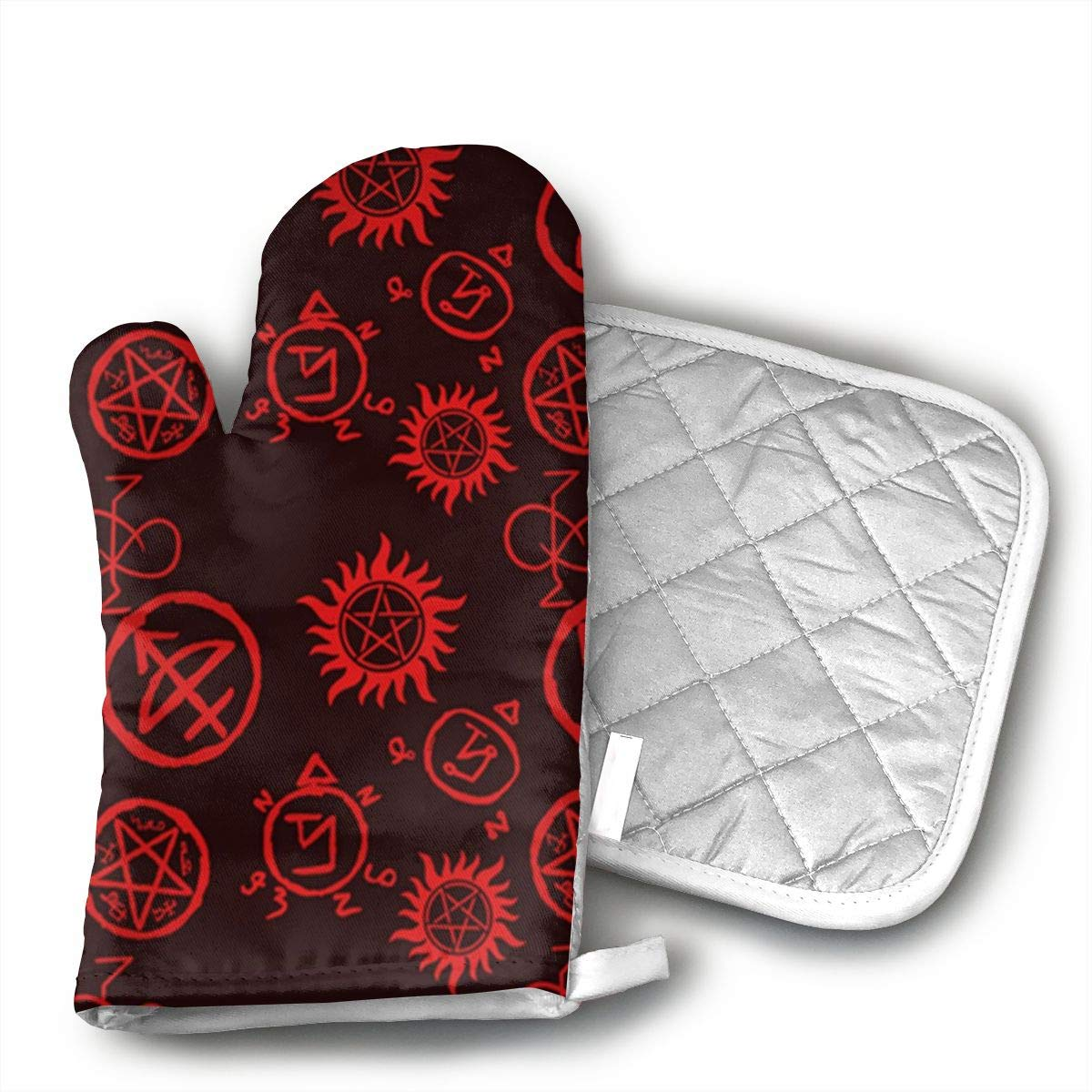 Wiqo9 Supernatural Symbols Red Oven Mitts and Pot Holders Kitchen Mitten Cooking Gloves,Cooking, Baking, BBQ.