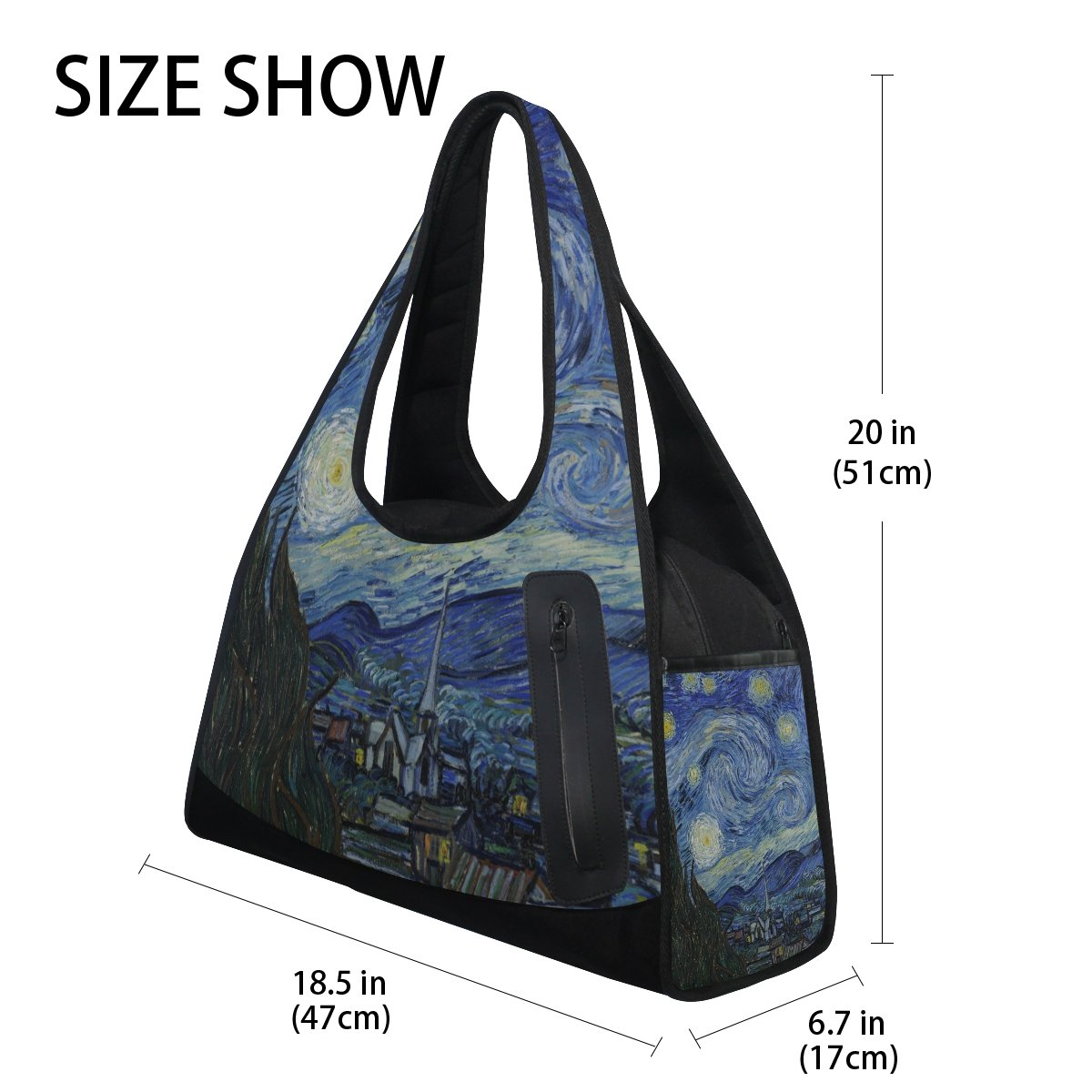 AHOMY Canvas Sports Gym Bag Van Gogh Starry Night Moon Duffel Bag Travel Shoulder Bag