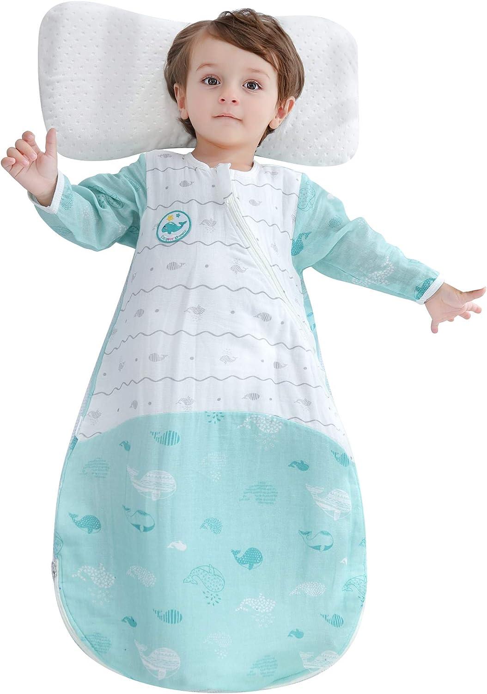 EsTong Unisex Baby Sleepsack Wearable Blanket Cotton Sleeping Bag Detachable Sleeve Nest Nightgowns 2.5tog White S
