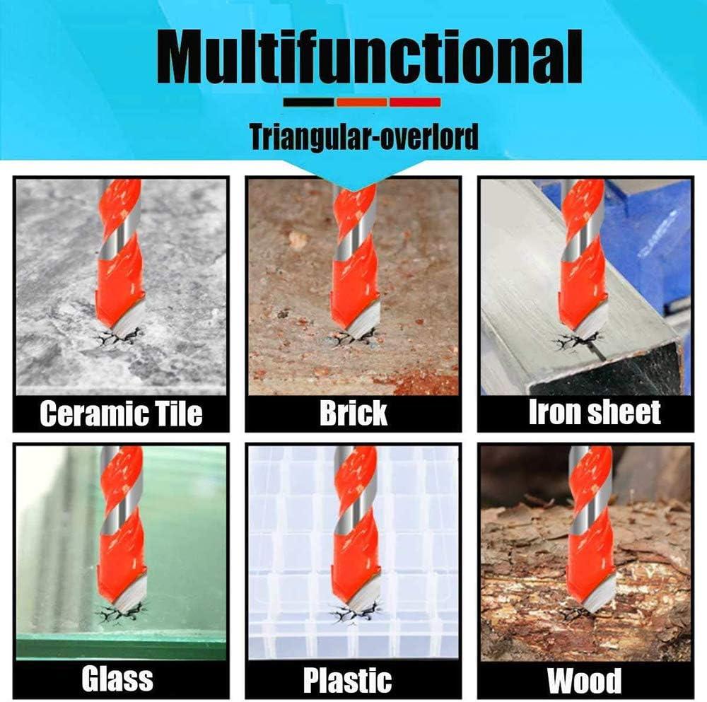 Brick Glass 6, 8, 10, 12mm Plastic and 6542 HSS Metal Drill Bit Set 4 Pcs Set Multi-Material Drill Bit Set for Tile,Concrete