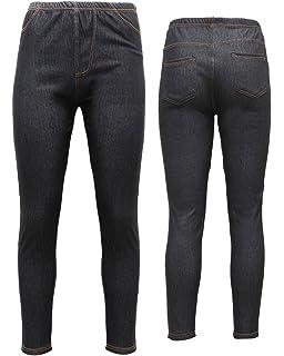 82a7296390b9b New Ladies Pack OF 2 Womens Ladies Denim Look Skinny Slim Stretchy Jeggings  Leggings with…