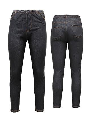 87a8ebc232864 New Ladies Pack OF 2 Stretchy Denim Look Skinny Jeggings Leggings Plus Size  8-26 UK: Amazon.co.uk: Clothing