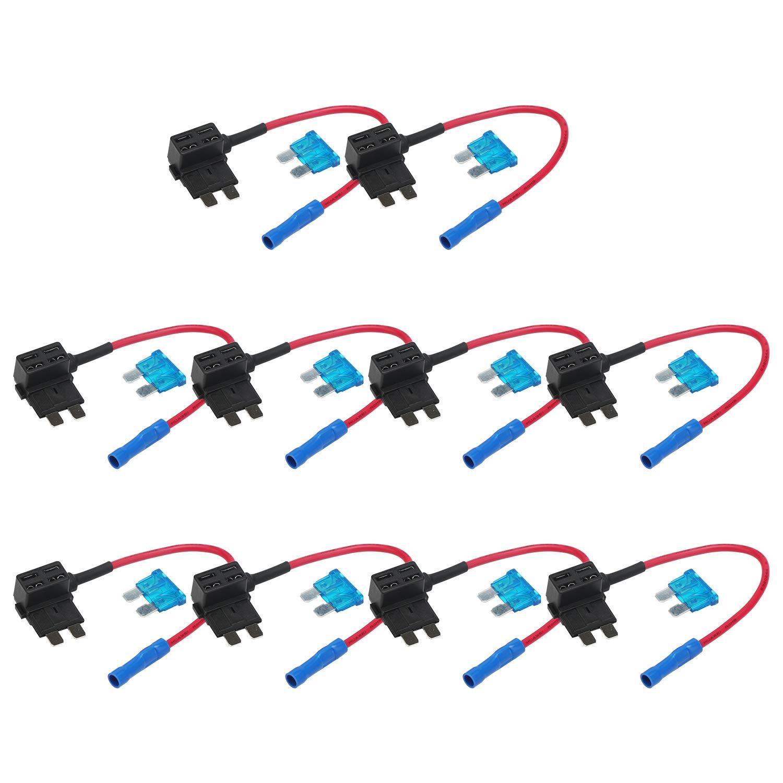 Add A Circuit Fuse Kit For Car10 Pack Auto 15v Car Tap Mini Blade Holder Atm Apm 12v 1 X Free Adapter Holderstandard
