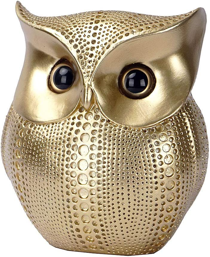 AsoBeauty Owl Statue Decor Small Crafted Figurines for Home Decor Accents, Living Room Bedroom Office Decoration, Book Shelf Decor TV Stand Decor - Animal Sculptures Collection (Gold)