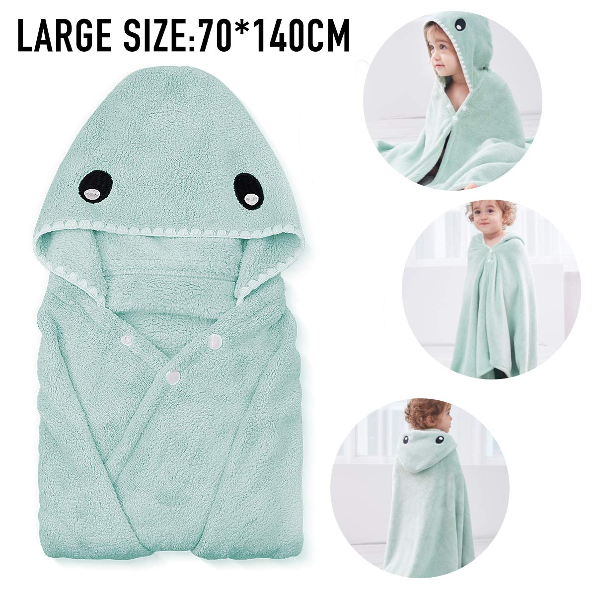 Kids Bath Towels,Premium Hooded Towel for Toddlers Highly Absorbent Coral Fleece Bathrobe for Boys Girls-27.5\