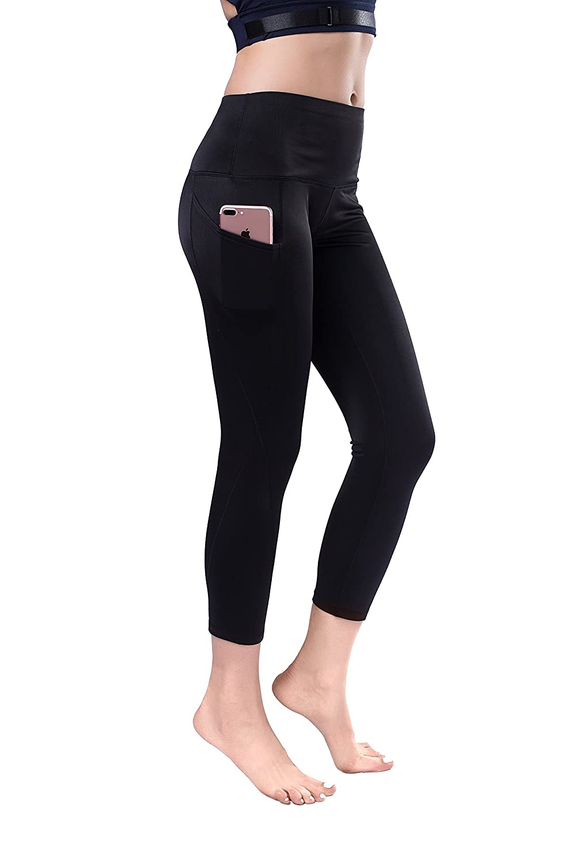 Tuerton High Waist Out Pocket Yoga Pants Tummy Control Workout Running Yoga Leggings