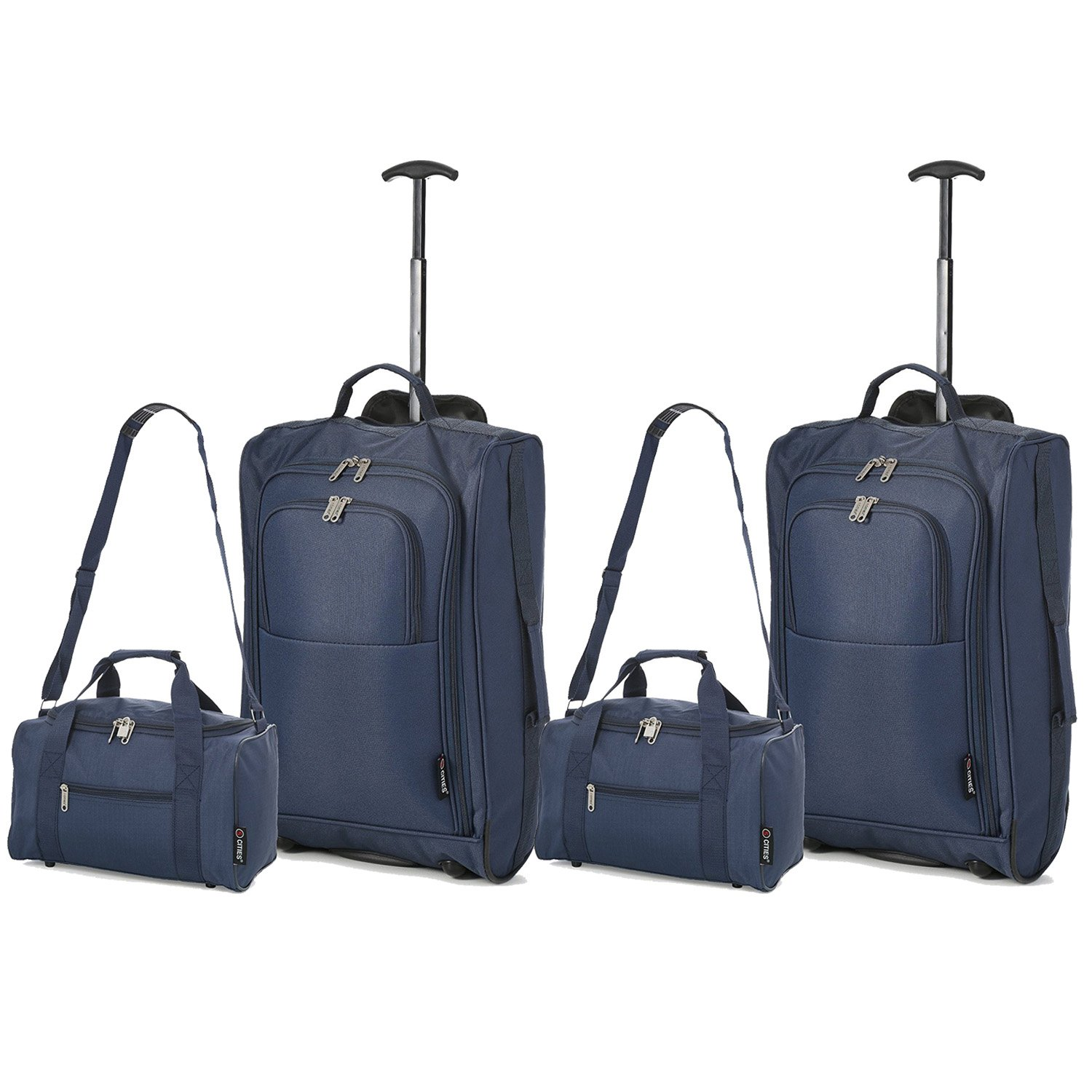 5 Cities Set Of 2 Ryanair Cabin Approved Main and Second Carry On Both Hand Luggage, 54 cm, 42.0 L, Black SETOF2TB023-830BLK+HOLD601BLK