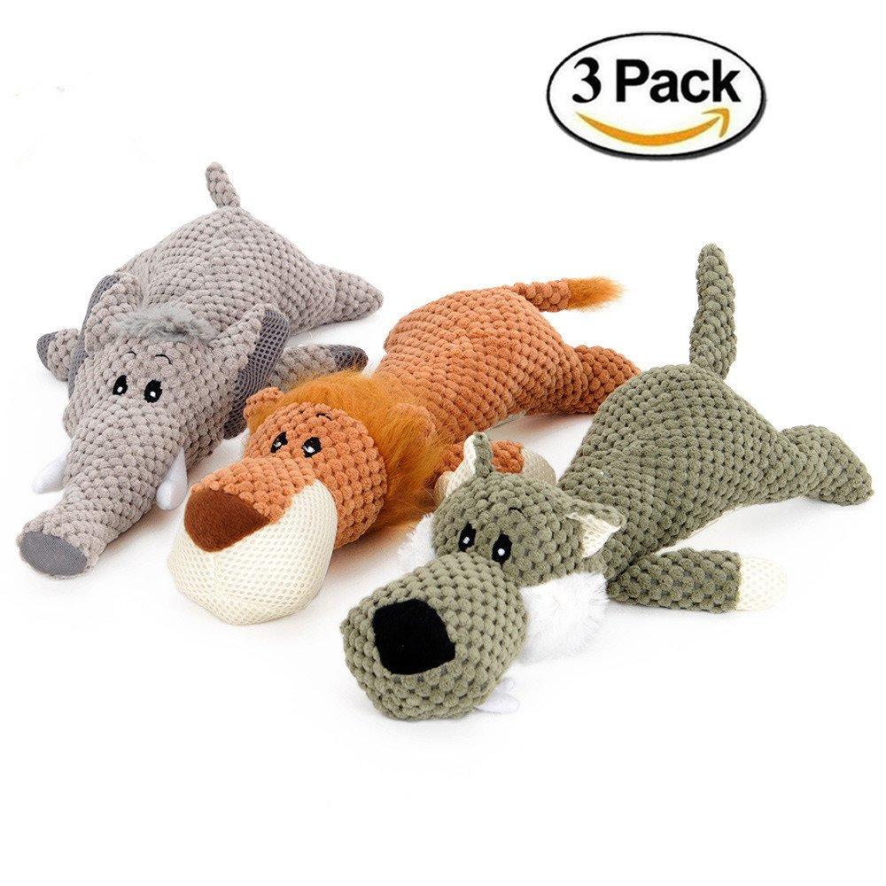 Unizero Pet Dog Squeaky Stuff Toy, Lion Elephant Wolf Pack for Small Medium and Large Dog,13 Inch,Set of 3
