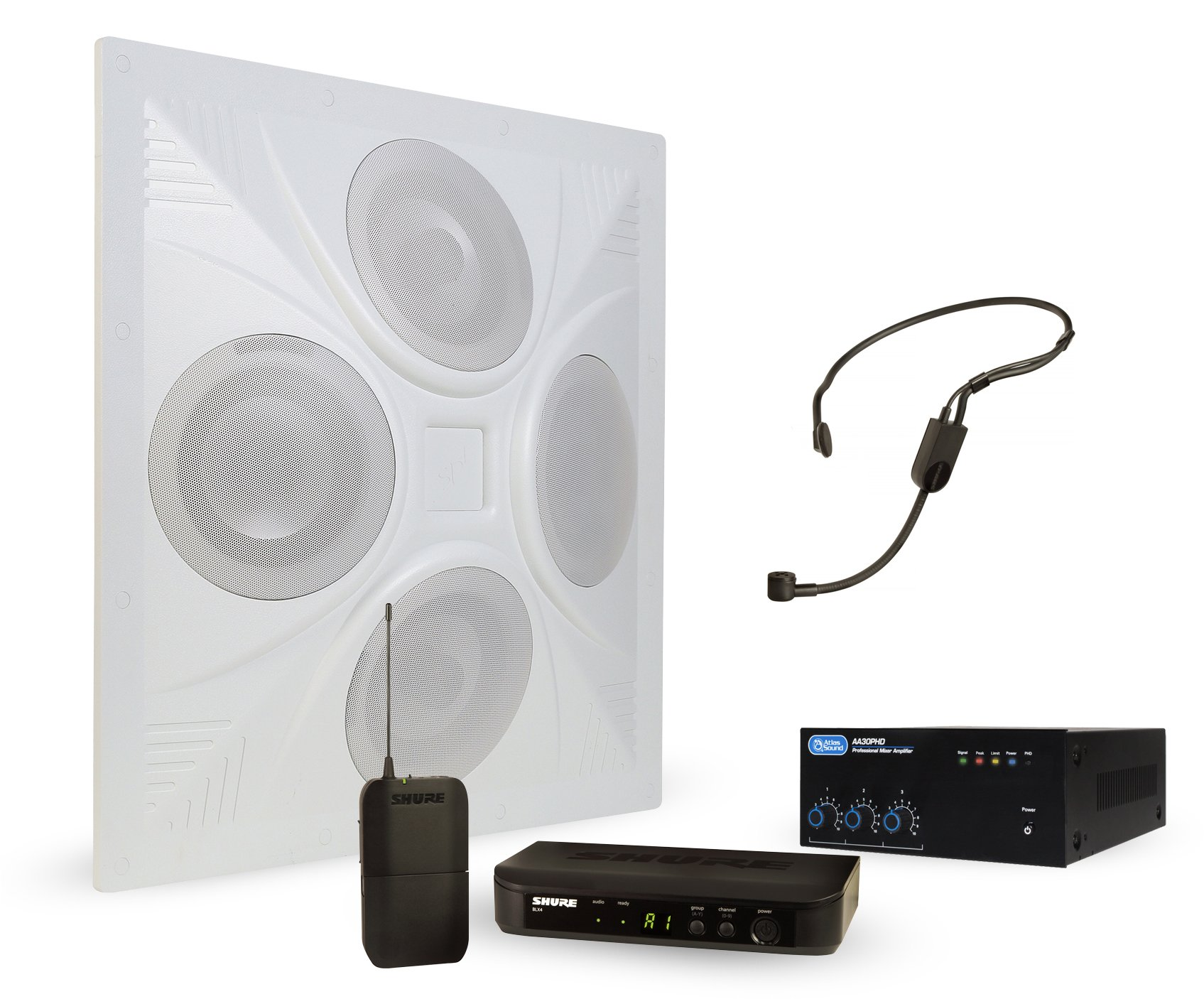 Wireless Conference Room Sound System 1 Ceiling Speaker, Mixer Amplifier, Shure Headset Mic Wireless System