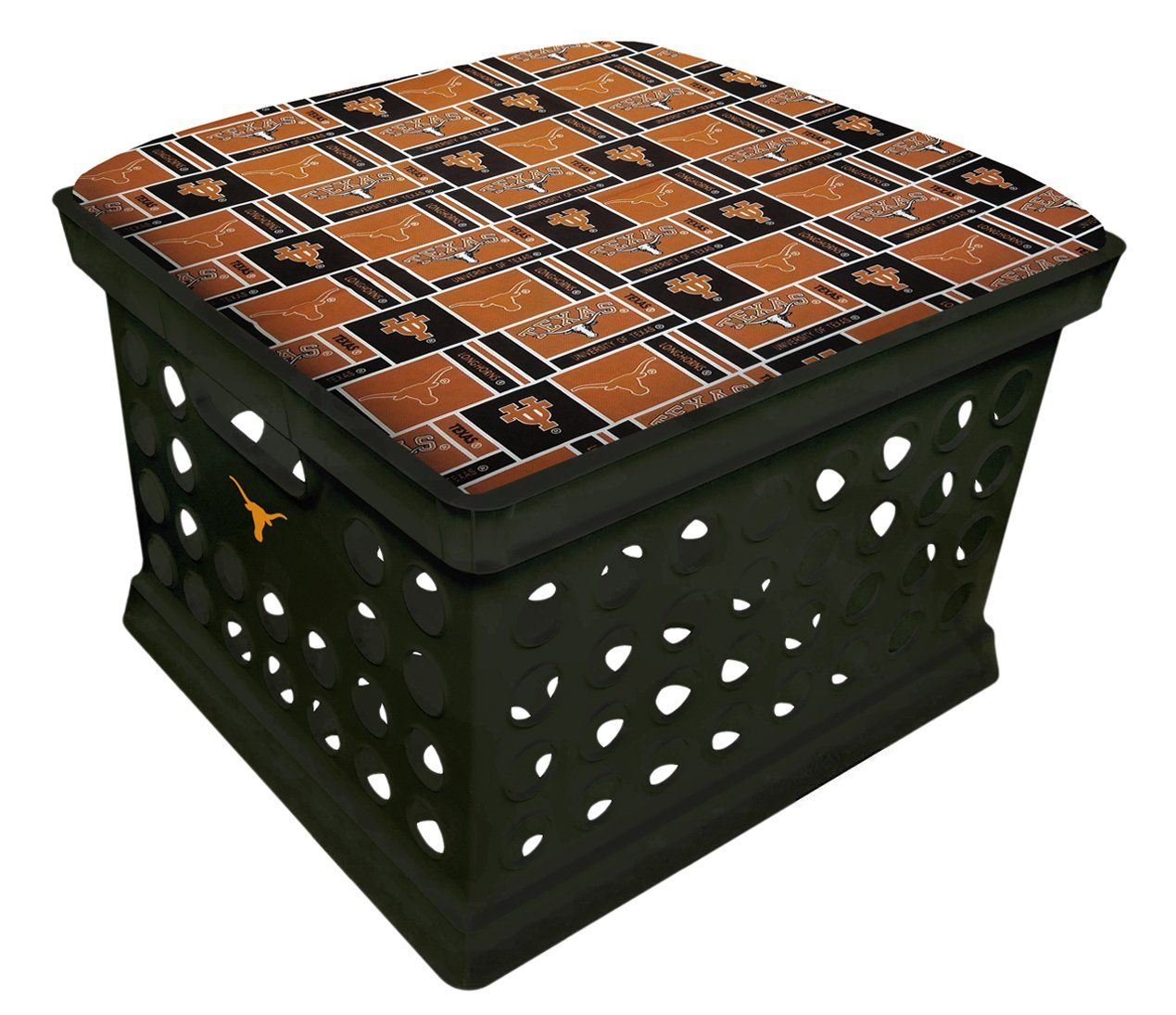 Black Utility Crate Storage Container Ottoman Bench Stool for Office/Home/School/Preschools with Your Choice of a Football Team Seat Cushion, Decal and a Free Nightlight! (Longhorns)