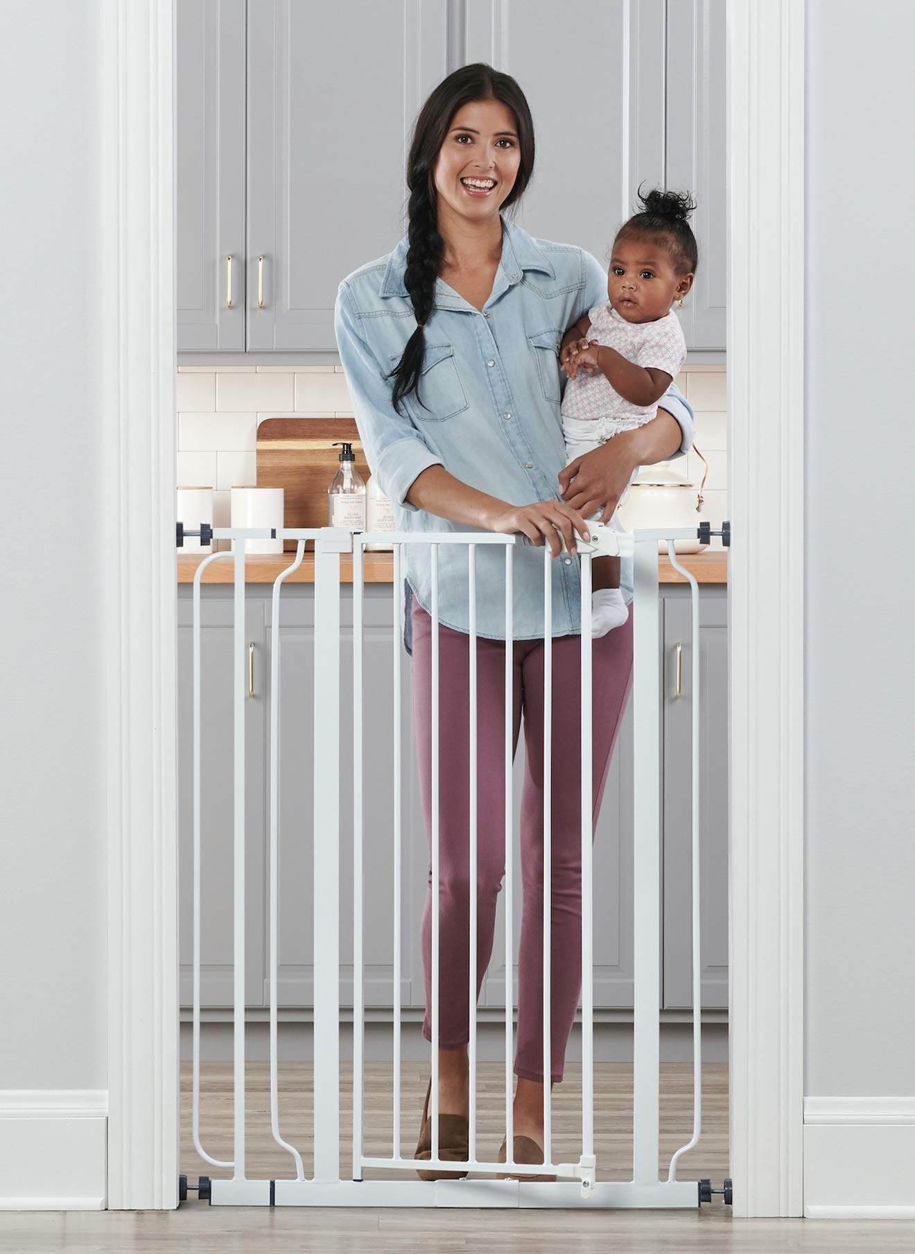 Regalo Easy Step Extra Tall Walk Thru Baby Gate, Includes 4-Inch Extension Kit, 4 Pack of Pressure Mount Kit and 4 Pack Wall Cups and Mounting Kit by Regalo