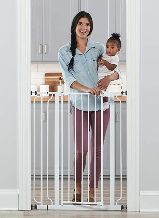 Amazon.com : Regalo Easy Step Extra Tall Walk Thru Baby Gate, Includes 4-Inch Extension Kit, 4 Pack of Pressure Mount Kit and 4 Pack Wall Cups and Mounting Kit : Indoor Safety Gates : Baby