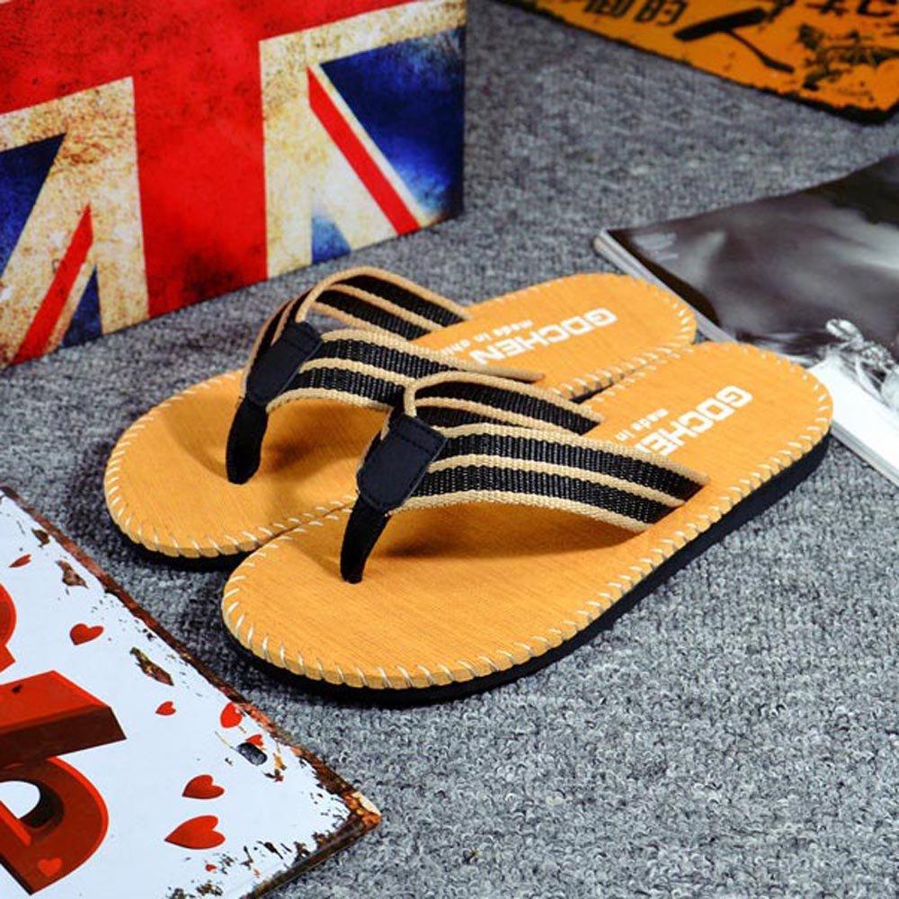 Respctful✿Men Flip Flops Lightweight Casual Thong Sandals Outdoor Anti Slip Indoor Sandals Beach Slippers Khaki by Respctful_shoes (Image #6)