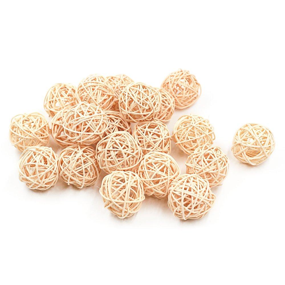 Zhi Jin 20Pcs Natural Wicker Rattan Balls Table Wedding Party Hanging Wobble Ball Christmas Decorative 3CM Coffee