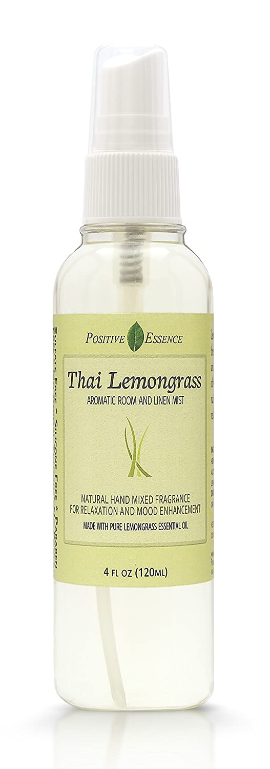 Positive Essence Thai Lemongrass Linen & Room Spray - Natural Aromatic Mist Made with Pure Lemongrass Essential Oil - Relax Your Body & Mind – Perfect as a Bathroom Air Freshener Odor Eliminator