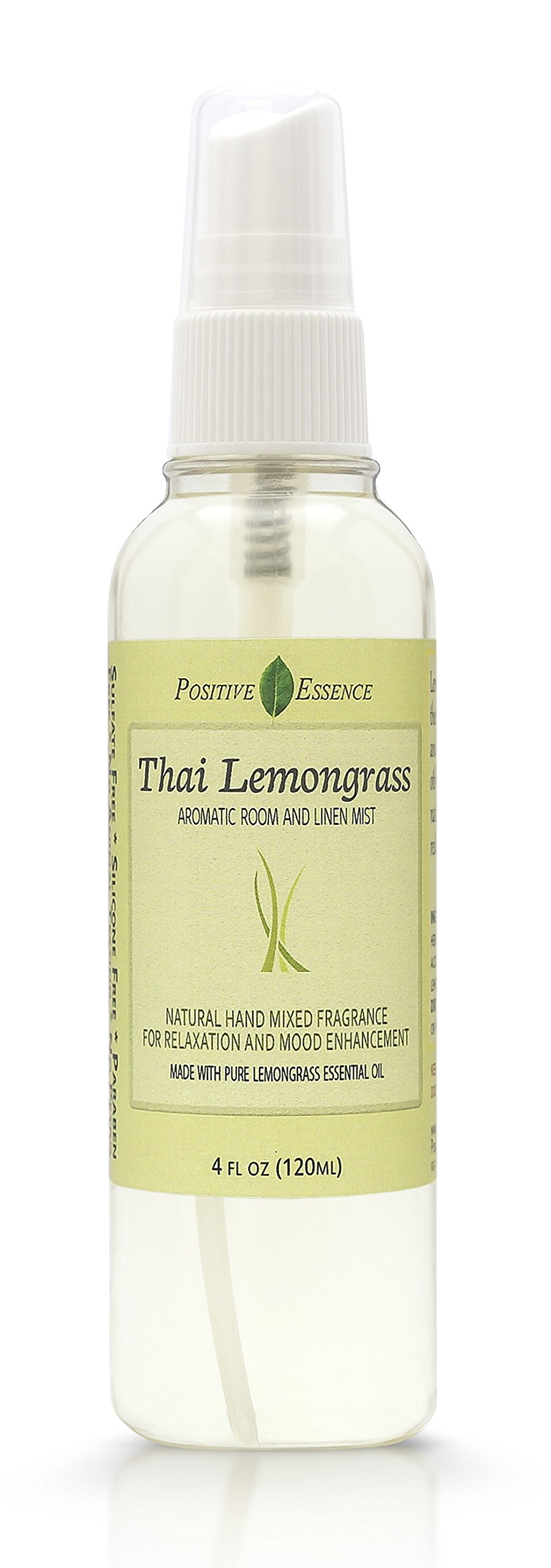 Positive Essence Thai Lemongrass Linen & Room Spray - Natural Aromatic Mist Made with PURE LEMONGRASS ESSENTIAL OIL - Relax Your Body & Mind – Perfect as a Bathroom Air Freshener Odor Eliminator by by Positive Essence