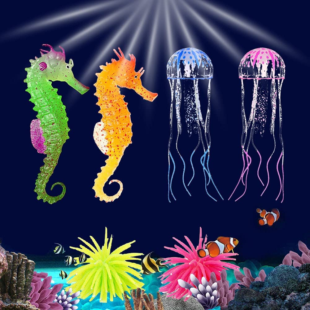 Glowing Aquarium Ornaments Silicone Fish Tank Decor Artificial Sea Anemones Decorations Including Coral Jellyfish Sea Horse, Christmas Tree Sillicon Ornament Decoration for Aquarium Fish Tank