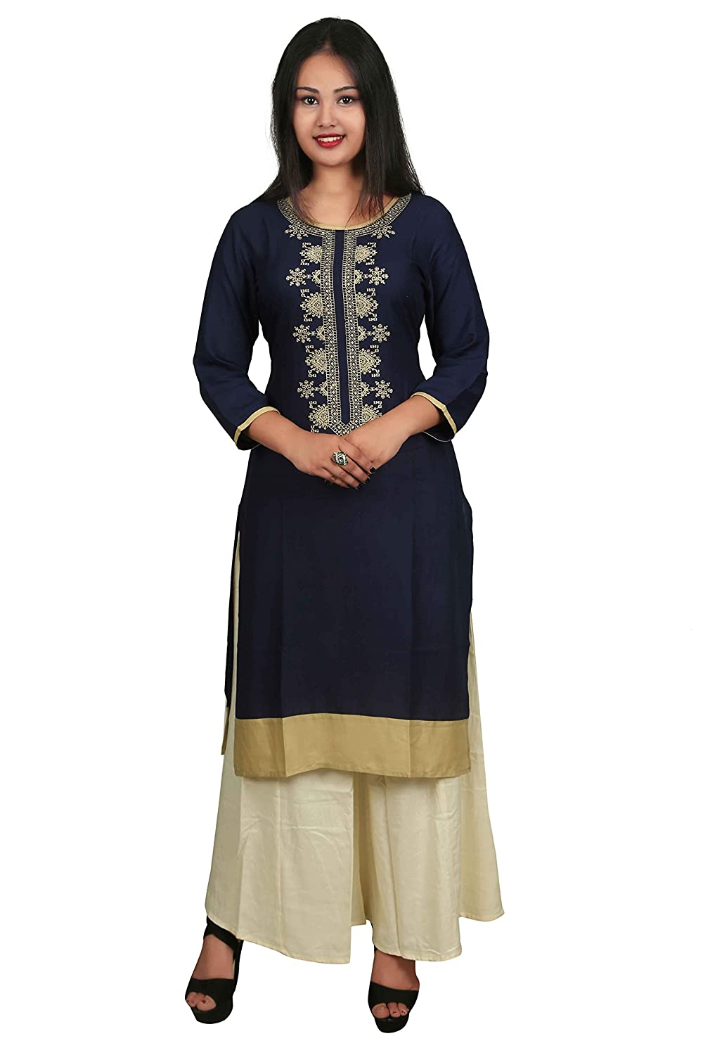 Blue Embroidered 3/4 Sleeve Cotton Women's Kurta and Palazzo Set Indian Handicrfats Export D12-Blue-Beige-XXL