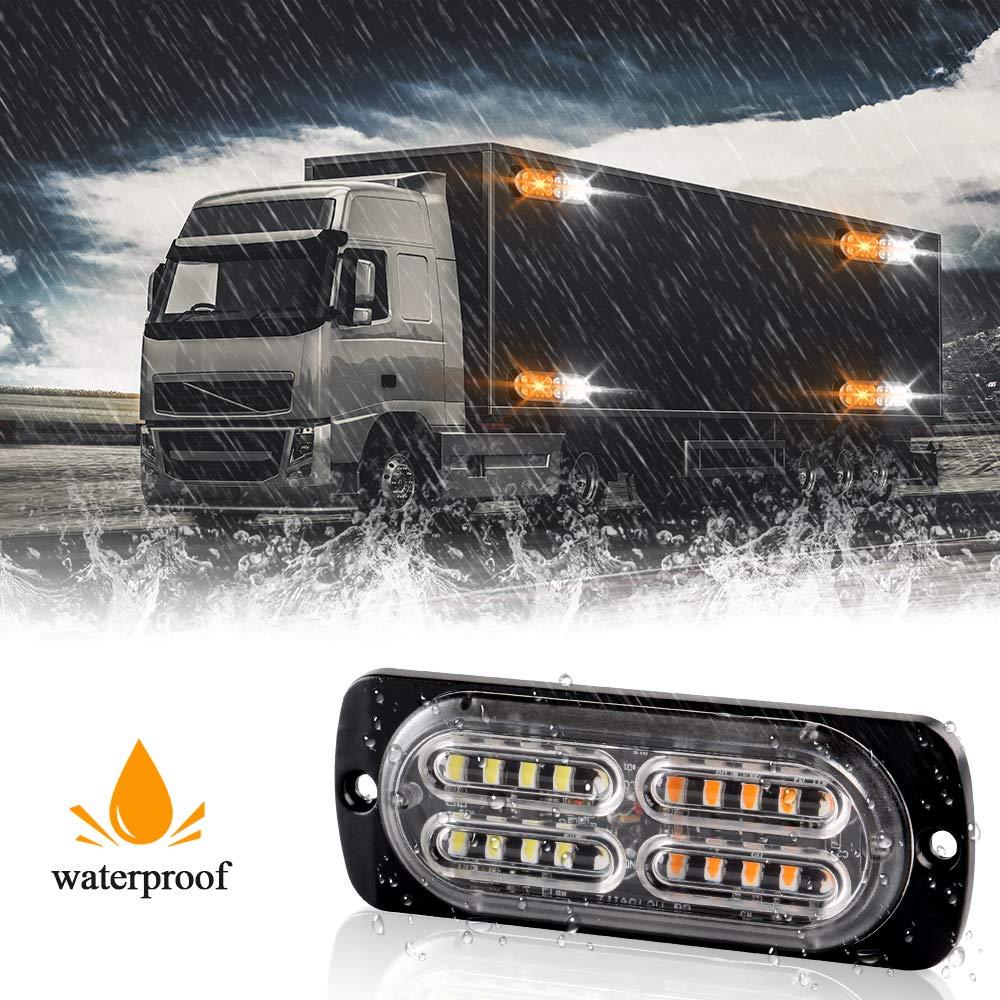 4Pcs High Intensity 20LED LED Emergency Hazard Warning Lights Extremely Bright Red 12-24V Flashing Strobe Lights Bar for Construction Car Vehicle SUV Truck Van