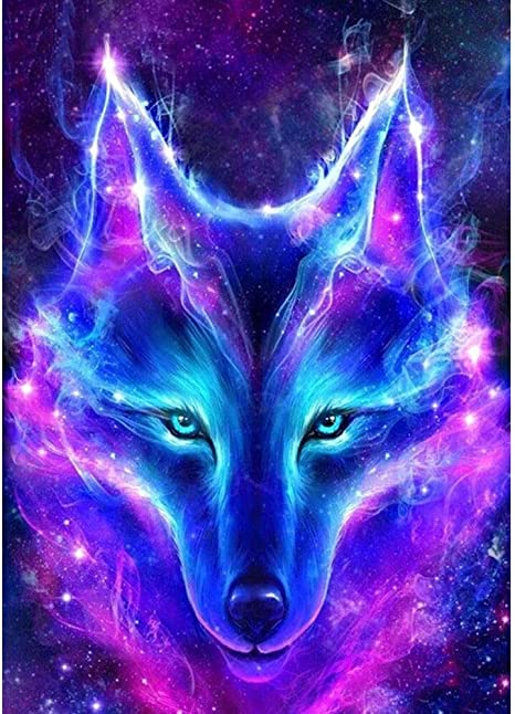 24x34cm 5D DIY Diamond Blue Purple Fox Glowing Animal Diamond Painting Cross Stitch Round Drill Mosaic Decoration
