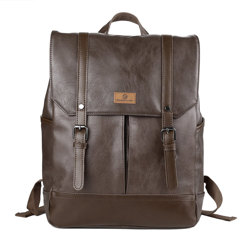 Koolertron Leather School Backpacks Casual Laptop Fashion Daypacks 14 inch Laptop Bags Shoulder Bags for College Boys Girls (Light Coffee)