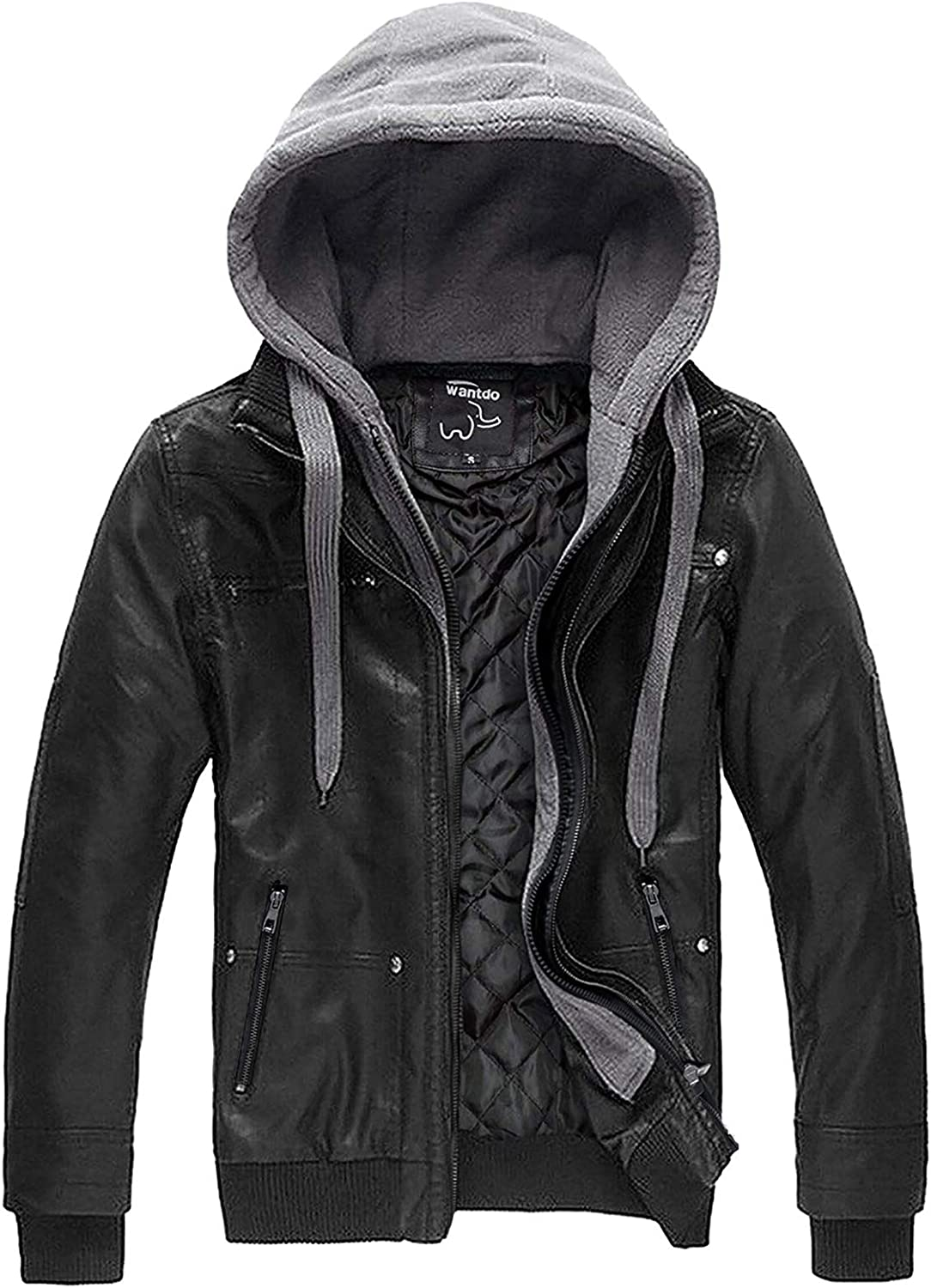 Wantdo Men's Faux Leather Jacket with Removable Hood Motorcycle Jacket Vintage Warm Winter Coat at  Men's Clothing store
