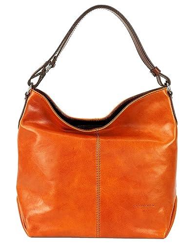 f8b11cac093b Amazon.com  Cuoieria Fiorentina Italian Leather Hobo Handbag (Orange)  Shoes