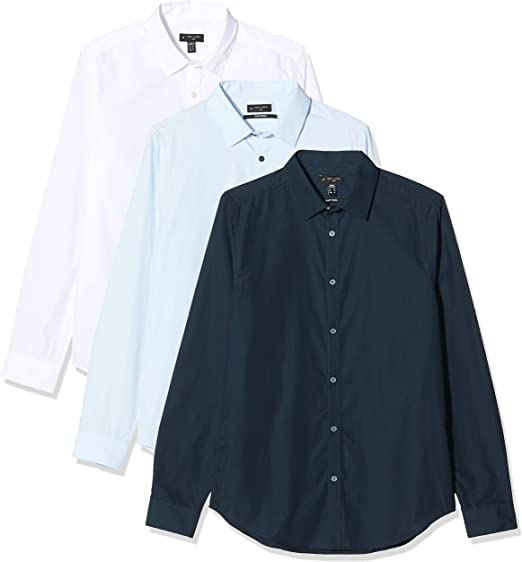 New Look 31 3pk LS Poplin Shirt s52 Camisa, Azul (Navy 41 ...