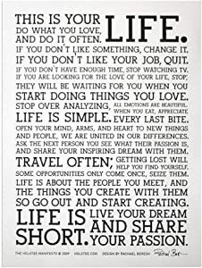 Holstee Manifesto Poster - The Original This is Your Life Poster (12 in x 16 in)