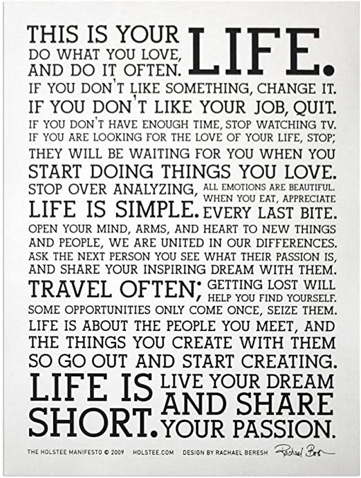 Amazon.com: Holstee Manifesto Póster (blanco): Home & Kitchen