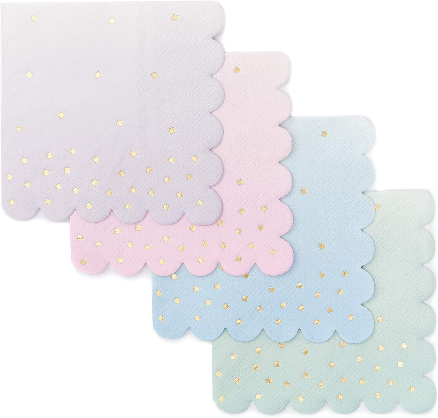 Ombre Cocktail Party Napkins (5 x 5 in, 4 Colors, 100-Pack)