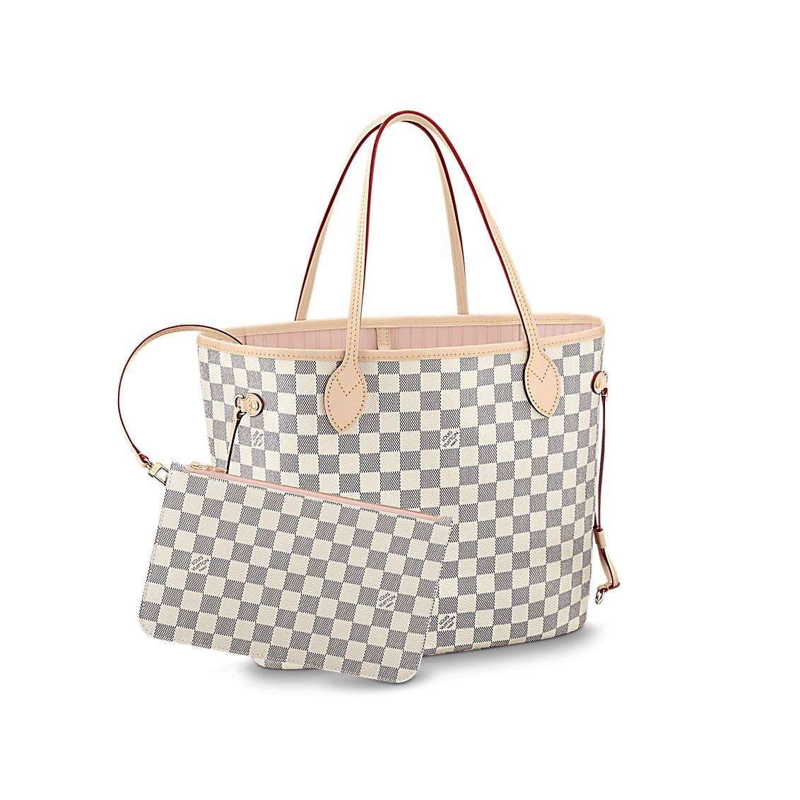 d0f8aea0dd21 Amazon.com  Louis Vuitton Damier Azur Canvas Neverfull MM N41605 Rose  Ballerine  Shoes