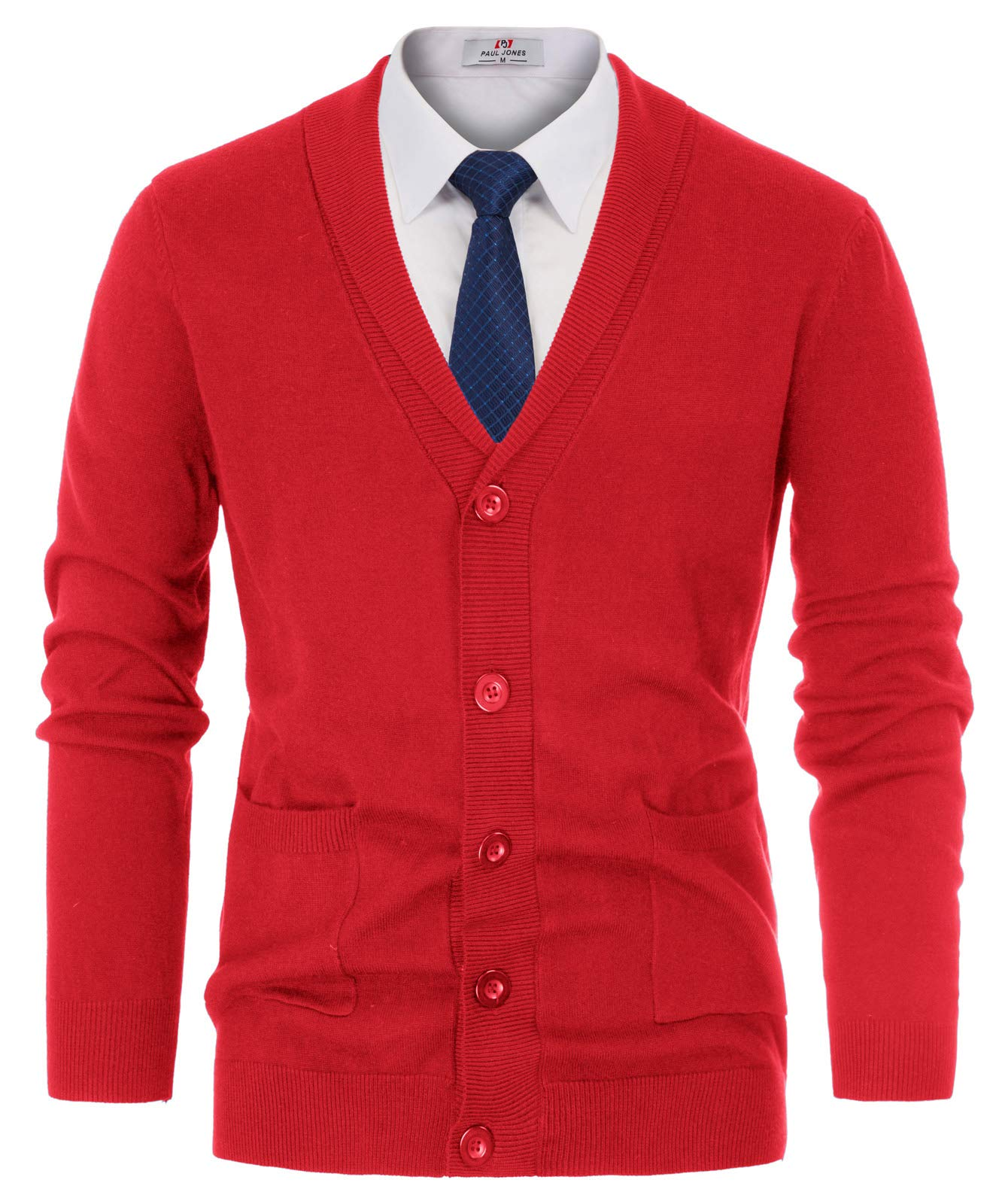 PAUL JONES Mens Shawl Collar Cardigan Sweater Button Front Knitwear Size 2XL Red by PAUL JONES
