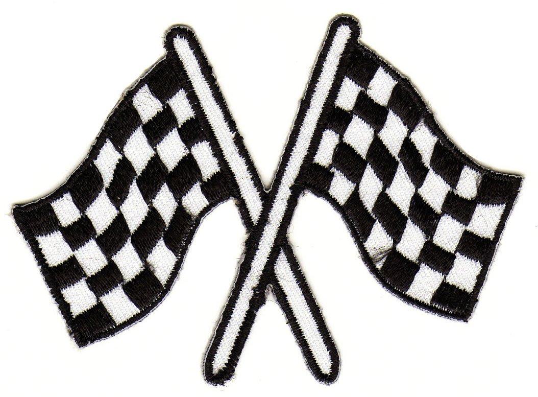 Bandera de Meta blanco y negro parche plancha de