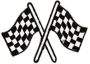 Bandera de Meta blanco y negro parche plancha de: Amazon.es: Coche y moto