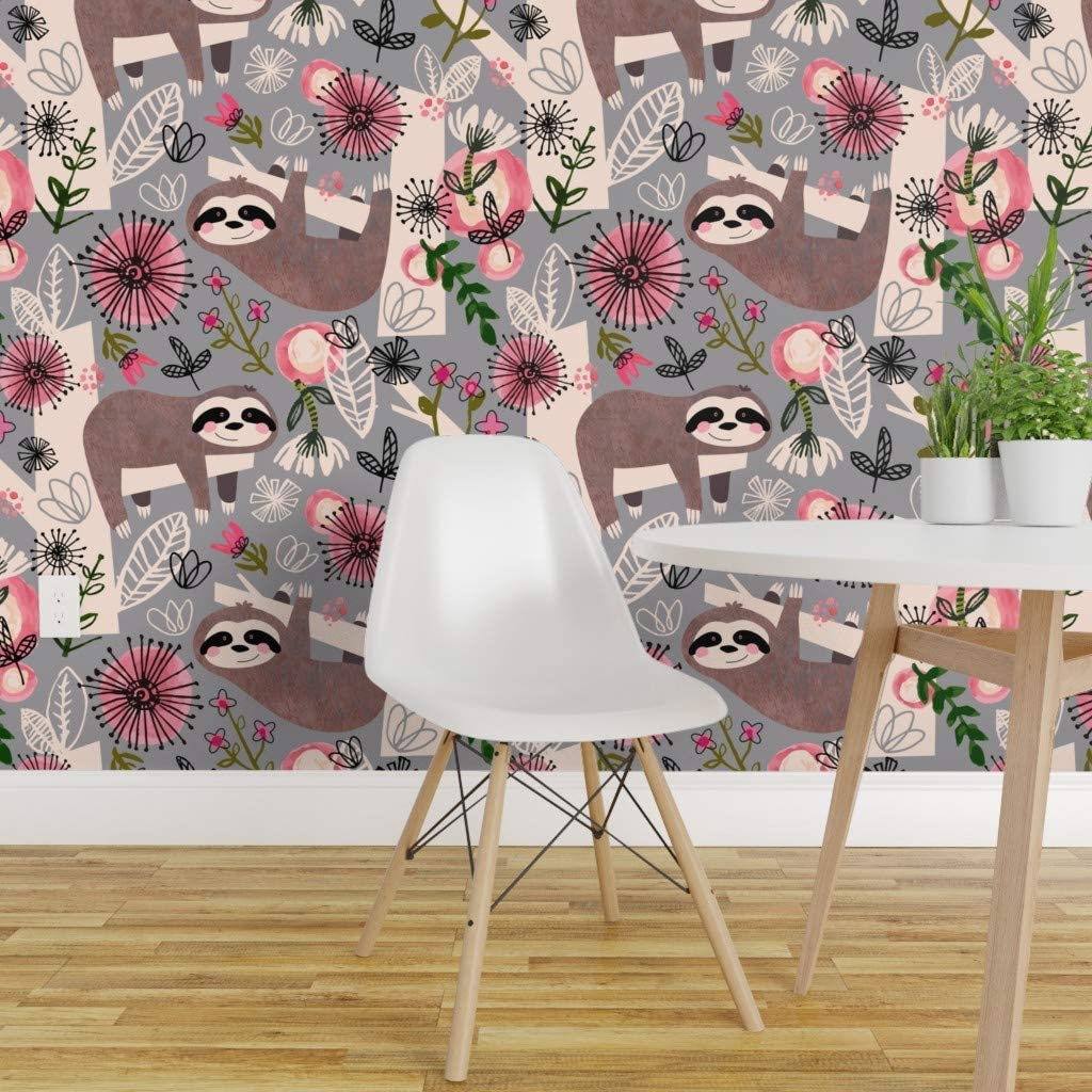 Spoonflower Peel And Stick Removable Wallpaper Sloths Floral