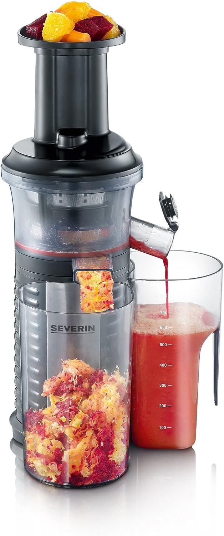 SEVERIN ES 3569 Exprimidor a baja velocidad incluye accesorio para fruta helada, 150 W, negro y acero inoxidable