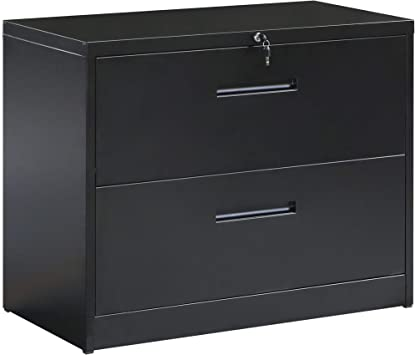 Amazon Com 2 Drawers Lateral File Cabinet Lockable Heavy Duty Metal File Cabinet With 2 Keys For Home Business Office School Black Office Products