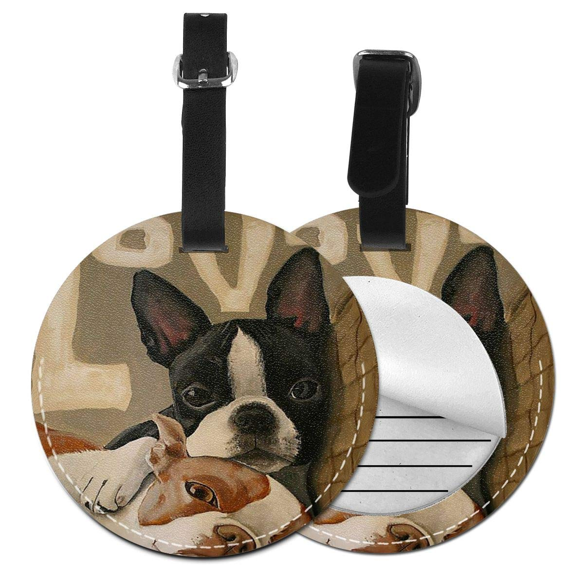 Boston Terrier Jinsshop 4 PCS Leather Luggage Tag With Name ID Card Perfect To Quickly Spot Luggage Suitcase