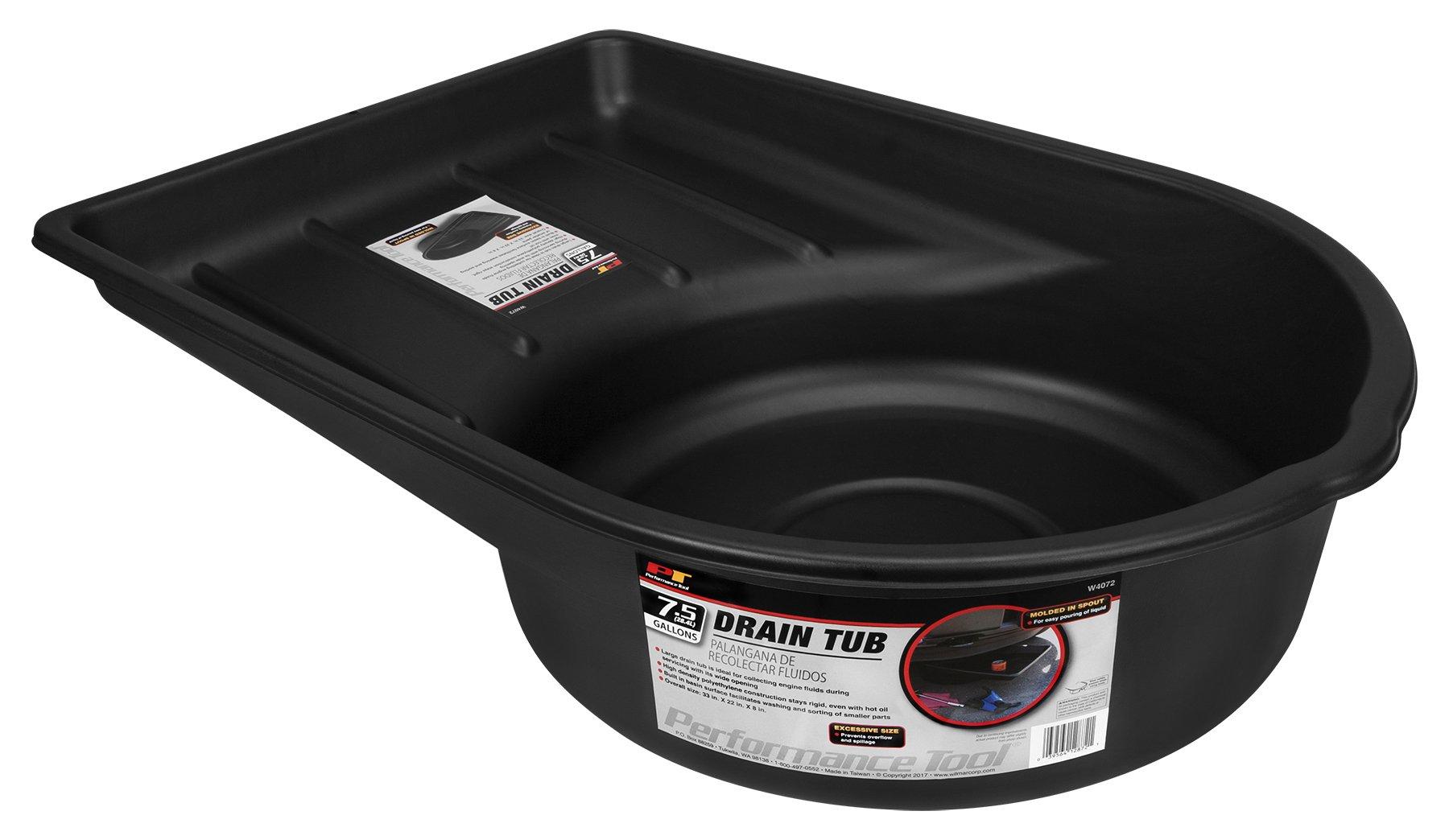 Performance Tool W4072 Black 7.5-Gallon Plastic Oil Drain Pan Extra Large Portable (28.4 L)