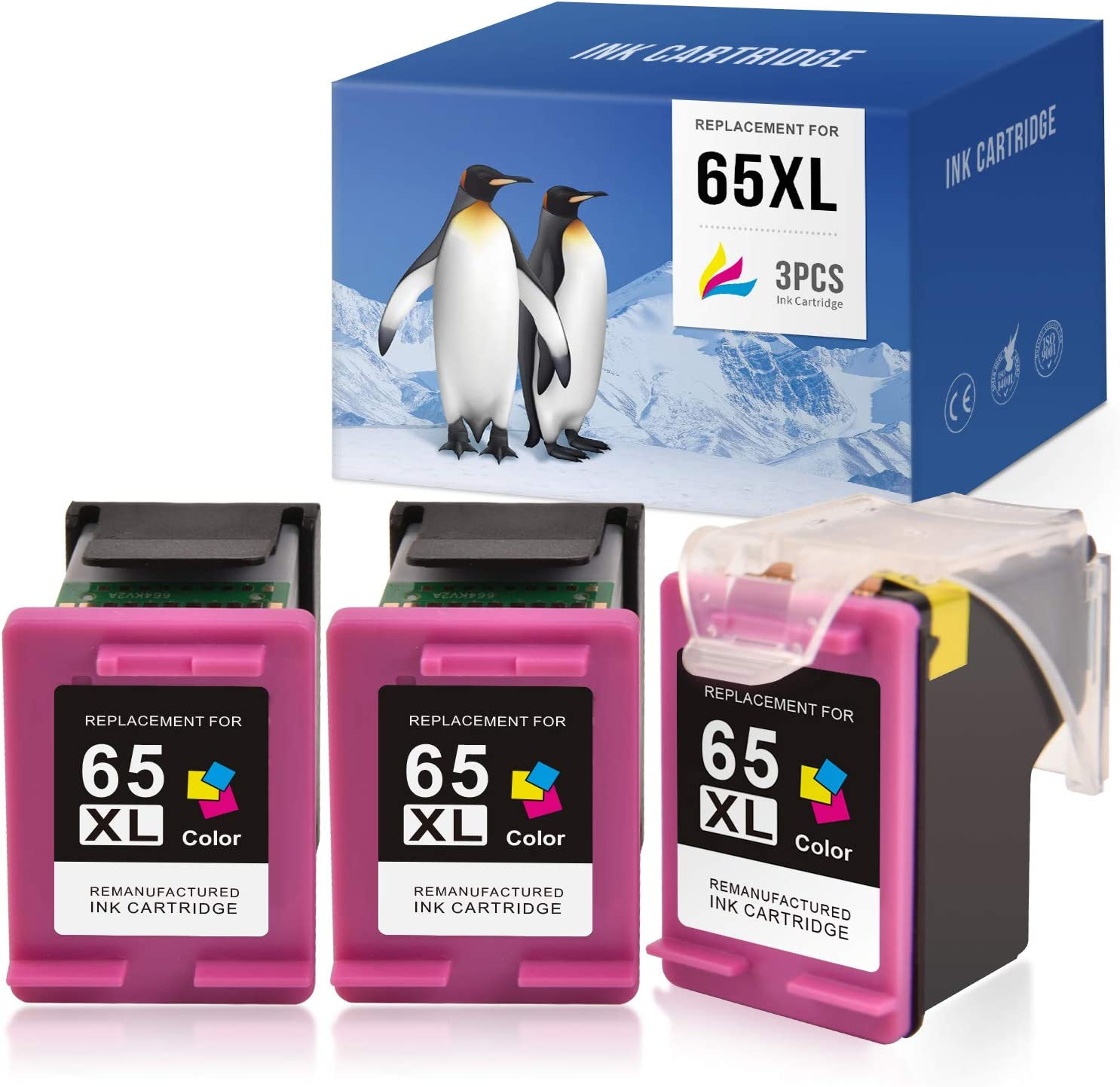 SAILNER Remanufactured Ink Cartridge Replacement for HP 65XL 65 XL Eco Saver use with DeskJet 3755 2622 3752 2655 2652 2636 2642 Envy 5055 5052 5012 N9K03AN (Tri-Color, 1 + 2 Pack)