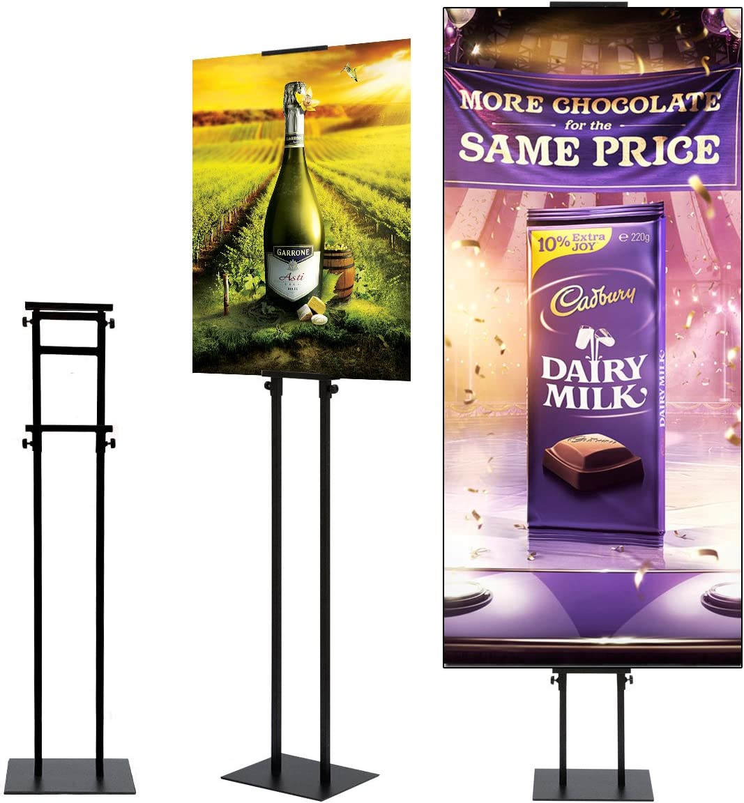 LXJYMX Poster Stand Floor-Standing Sign Holder Open Frame with Safety Corner Heavy Pedestal Poster Sign Stand Advertising Sign Stand