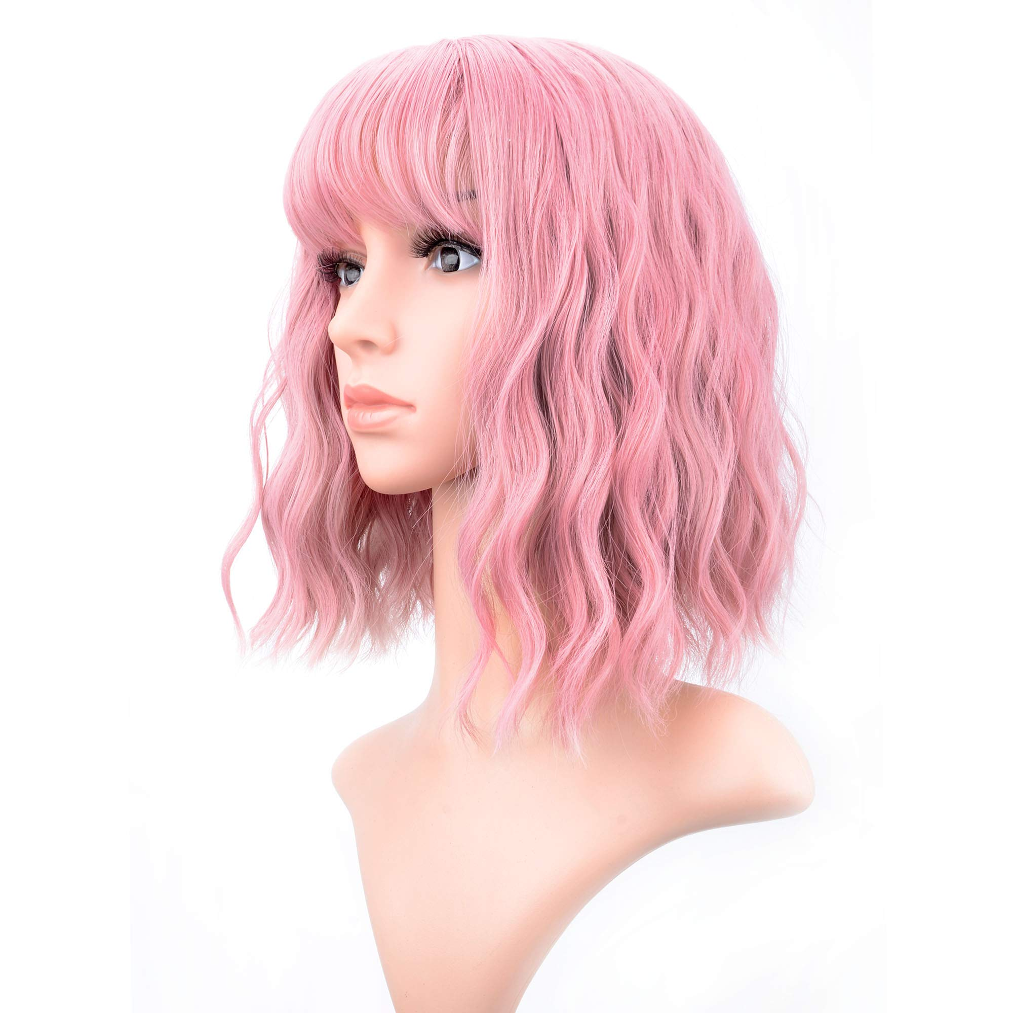 VCKOVCKO Pastel Wavy Wig With Air Bangs Women's Short Bob Pink Wig Curly Wavy Shoulder Length Pastel Bob Synthetic Cosplay Wig for Girl Colorful Costume Wigs(12'', Pink) by VCKOVCKO