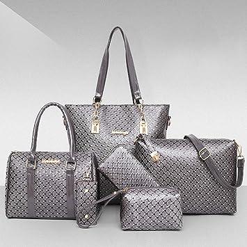 a8287633a10e2 LUCKYCCDD Damen Handtaschen Leder Handtaschen Set 6 Teiliges Mit Crossbody  Tasche und Handgelenktasche