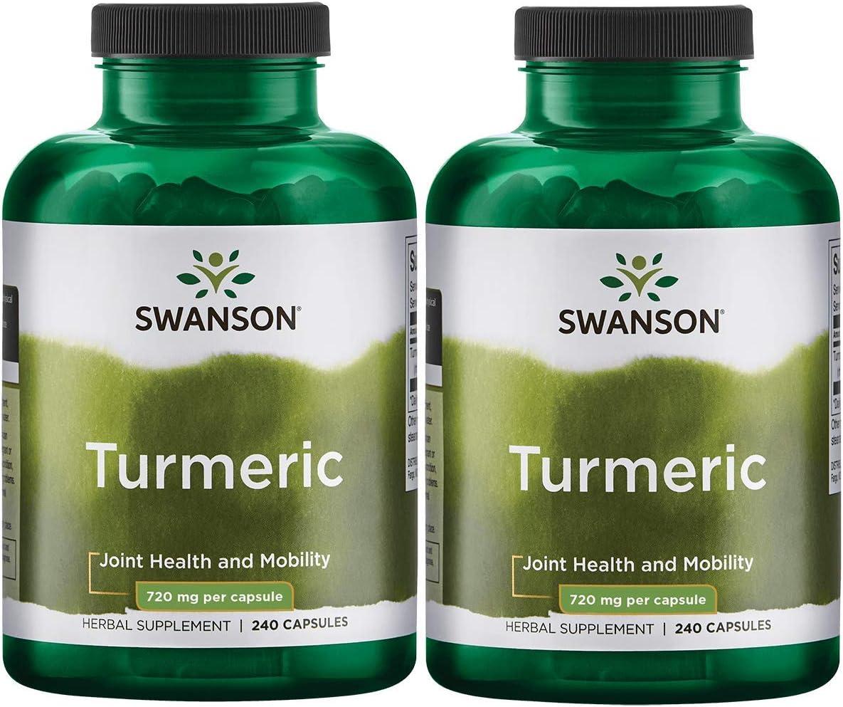 Swanson Turmeric Curcumin Antioxidant Joint Health Cardiovascular Liver Detox Mood Memory Support Supplement Curcuma Longa 720 mg per Cap 1.44 Grams per 2 Cap Serving Size 240 Capsules 2 Pack