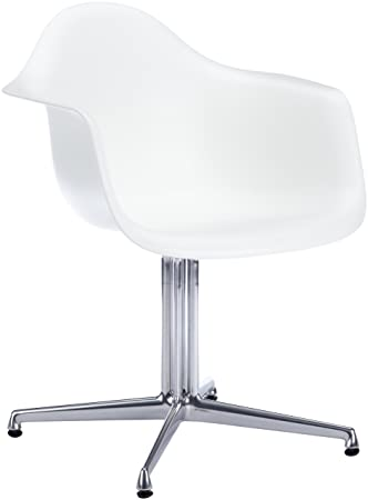 Vitra 440115000104 Stuhl DAL Eames Plastic Armchair Gestell Alu Natur, Weiß