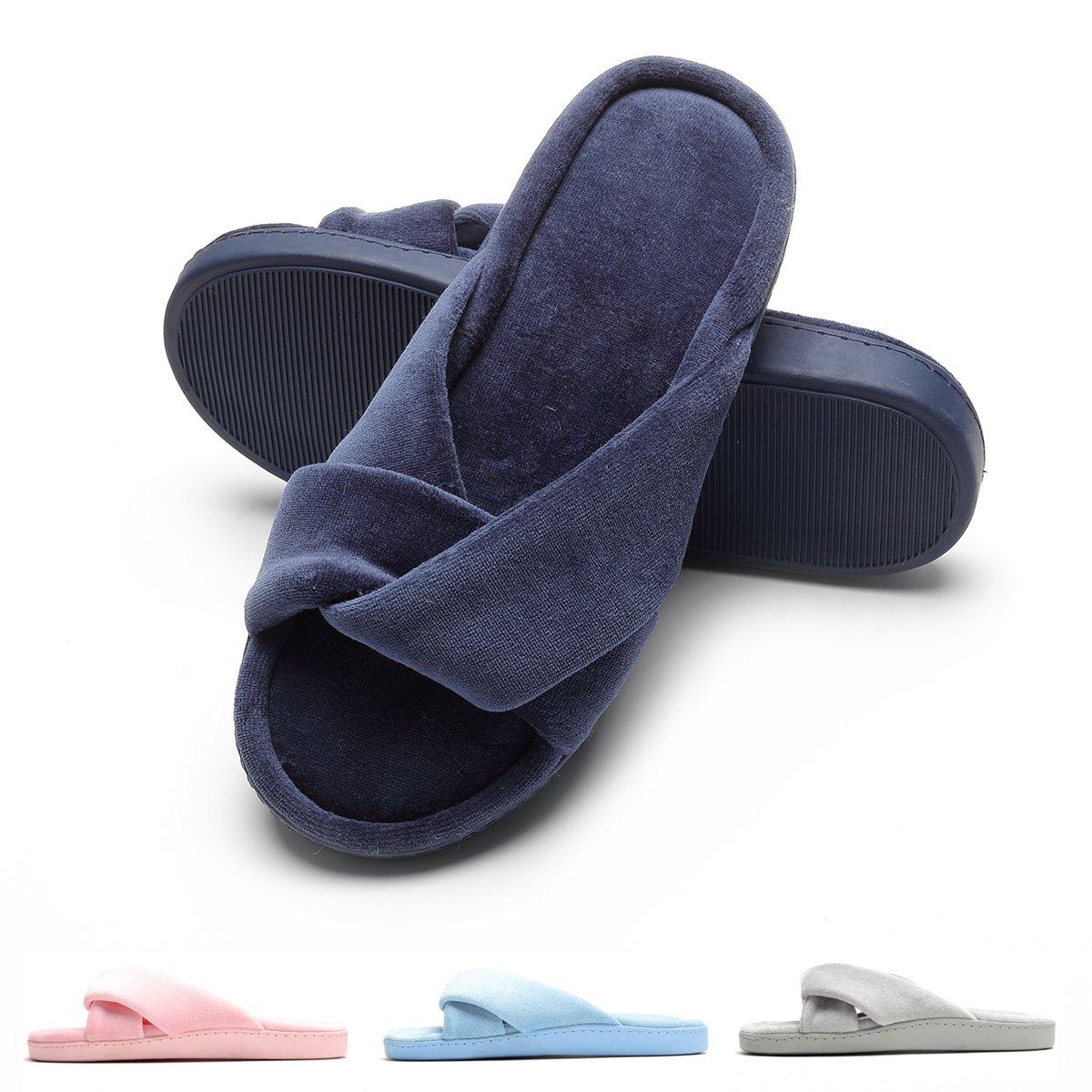 House Slippers for Women Slide Slip on Shoes Memory Foam Anti-Slip Sole Navy Blue L