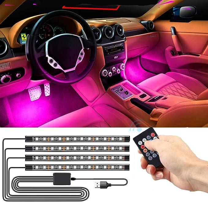 Seametal Led Innenbeleuchtung Auto 4pcs 48led Auto Led Strip Upgrade Usb Ambientebeleuchtung Auto Streifen Usb Auto