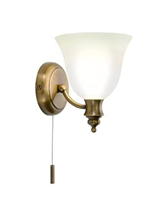 Dar Oboe Antique Brass Finish Bathroom Wall Light IP44 Rated