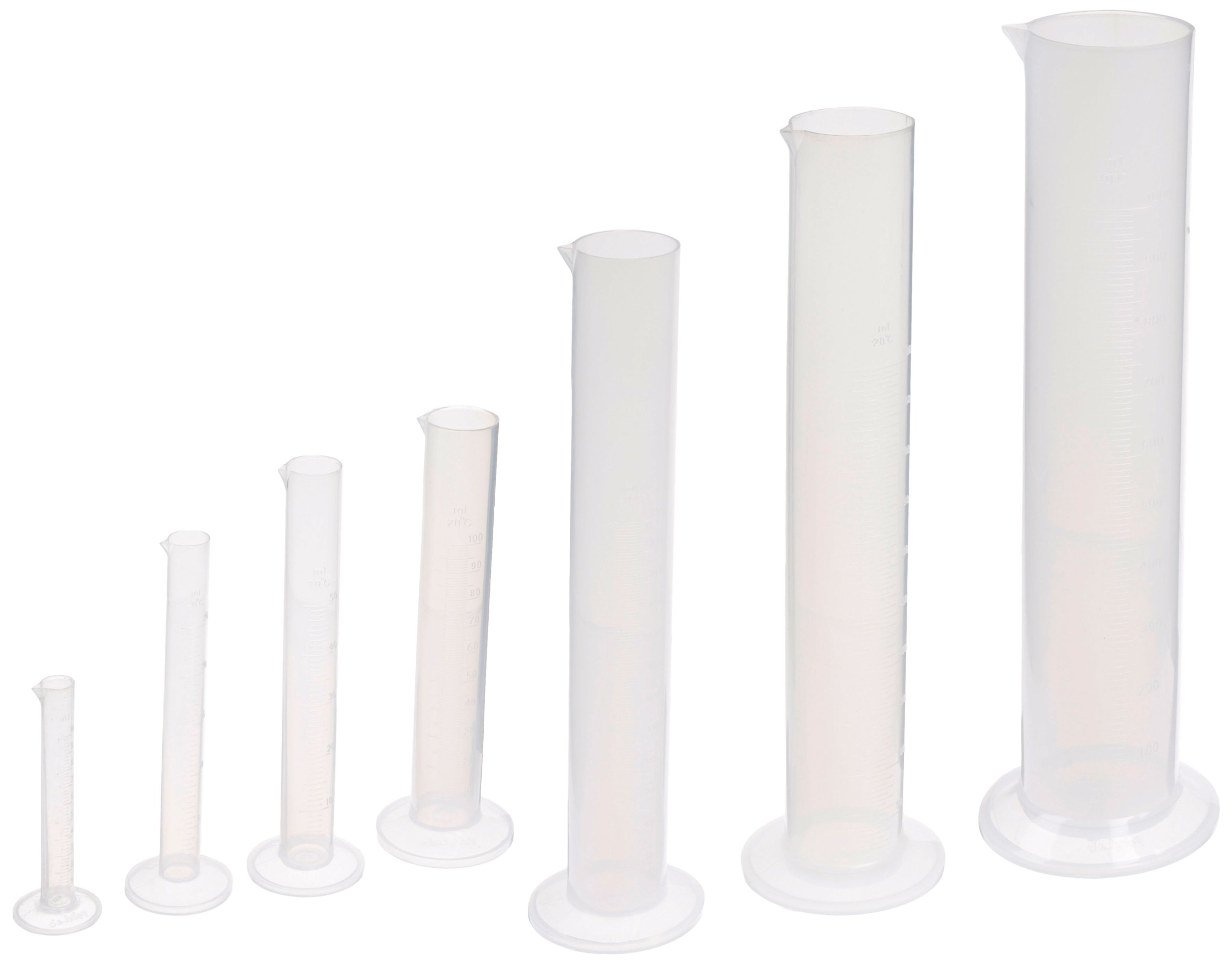 United Scientific CPSET7 Plastic Graduated Cylinder Set, Set of 7 Cylinders
